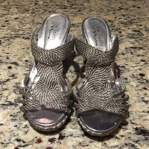 Silver wedge sandals. Incredibly comfortable!